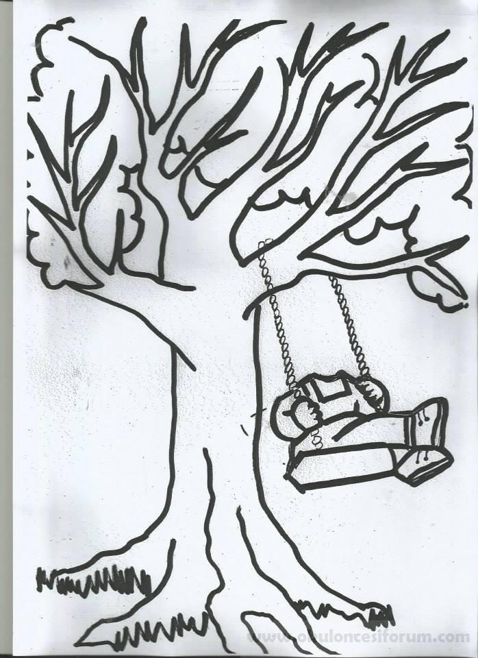 Bahar Ağacında Sallanan çocuklar Kalıplı Okul öncesi