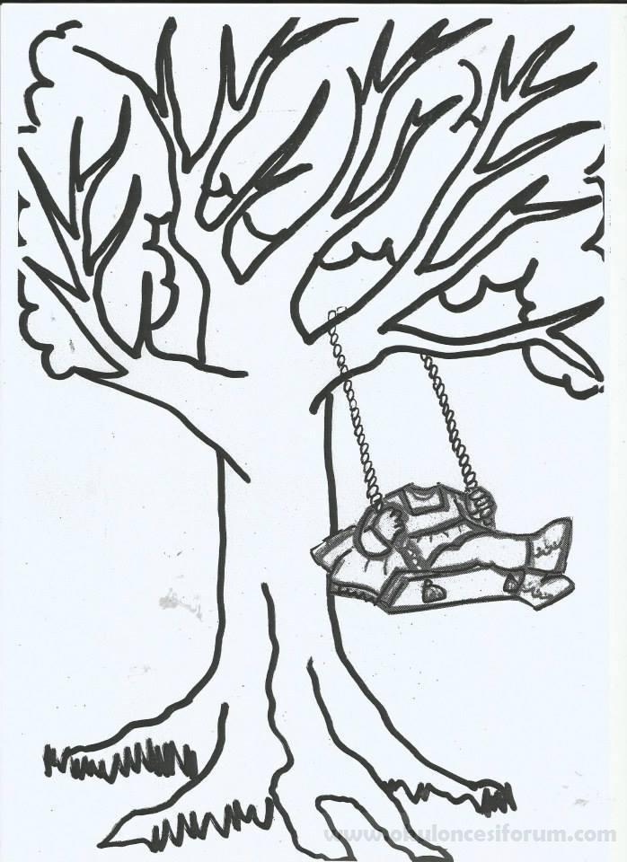Bahar Ağacında Sallanan çocuklar Kalıplı Okul öncesi Etkinlikleri