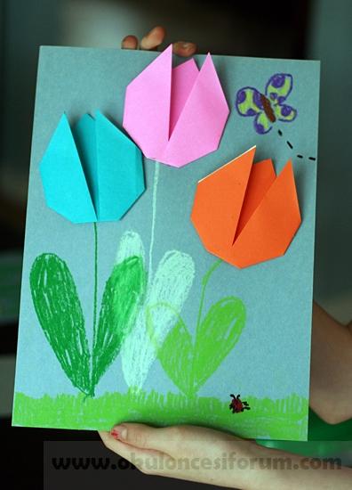 Origami Lale Yapalim Okul Oncesi Etkinlikleri