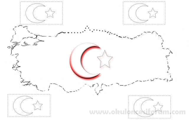 Bayrakli Turkiye Haritasi Ataturk Ve Turk Bayragi Boyama Sayfalari