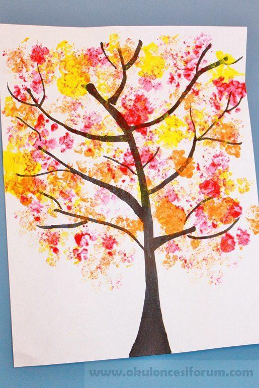 Karnıbahar Baskısından Sonbahar Ağacı Okul öncesi Etkinlikleri