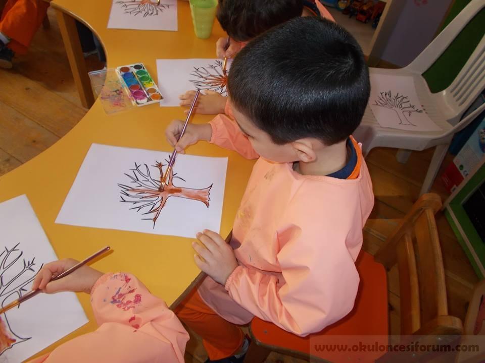 Sonbahar Agaci Firca Baskisi Okul Oncesi Etkinlikleri