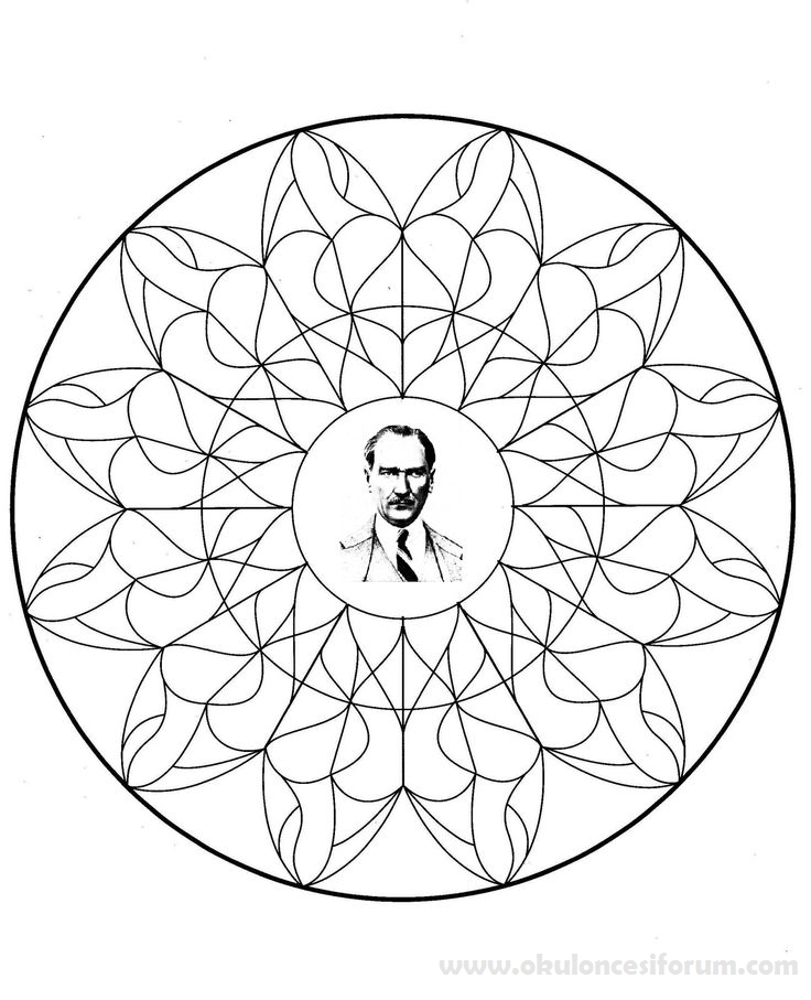10 Kasım Haftası Atatürk Mandala Boyama Sayfaları Okul öncesi