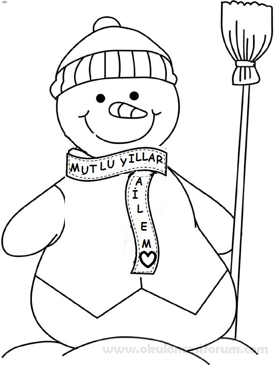 Okul öncesi Eğitimde Kardan Adam Kart örneği Yeni Yıl Takvimi Ve