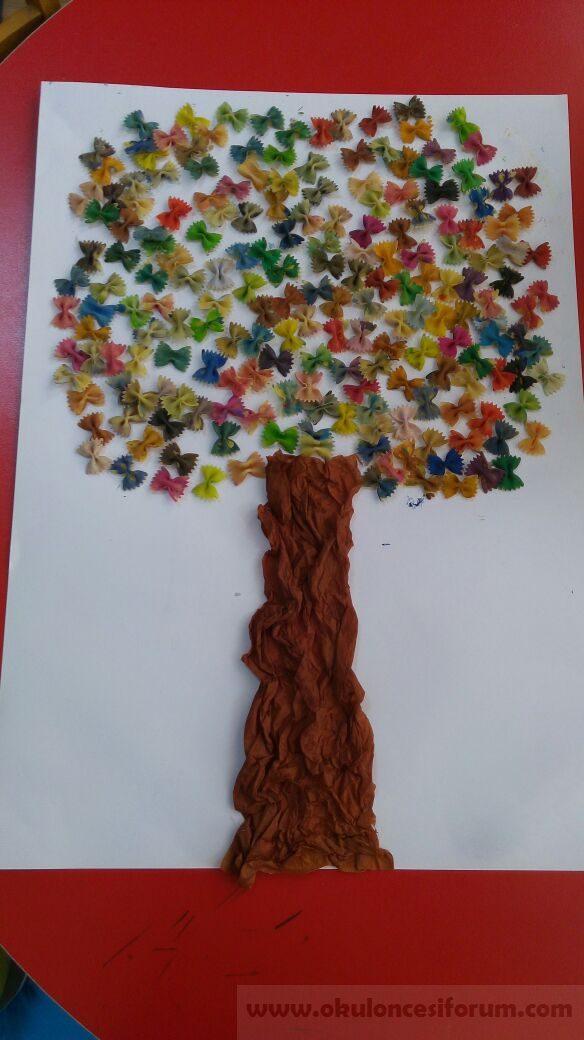 Artık Materyallerle Ilkbahar Ağacı Sanat Etkinliği Okul öncesi
