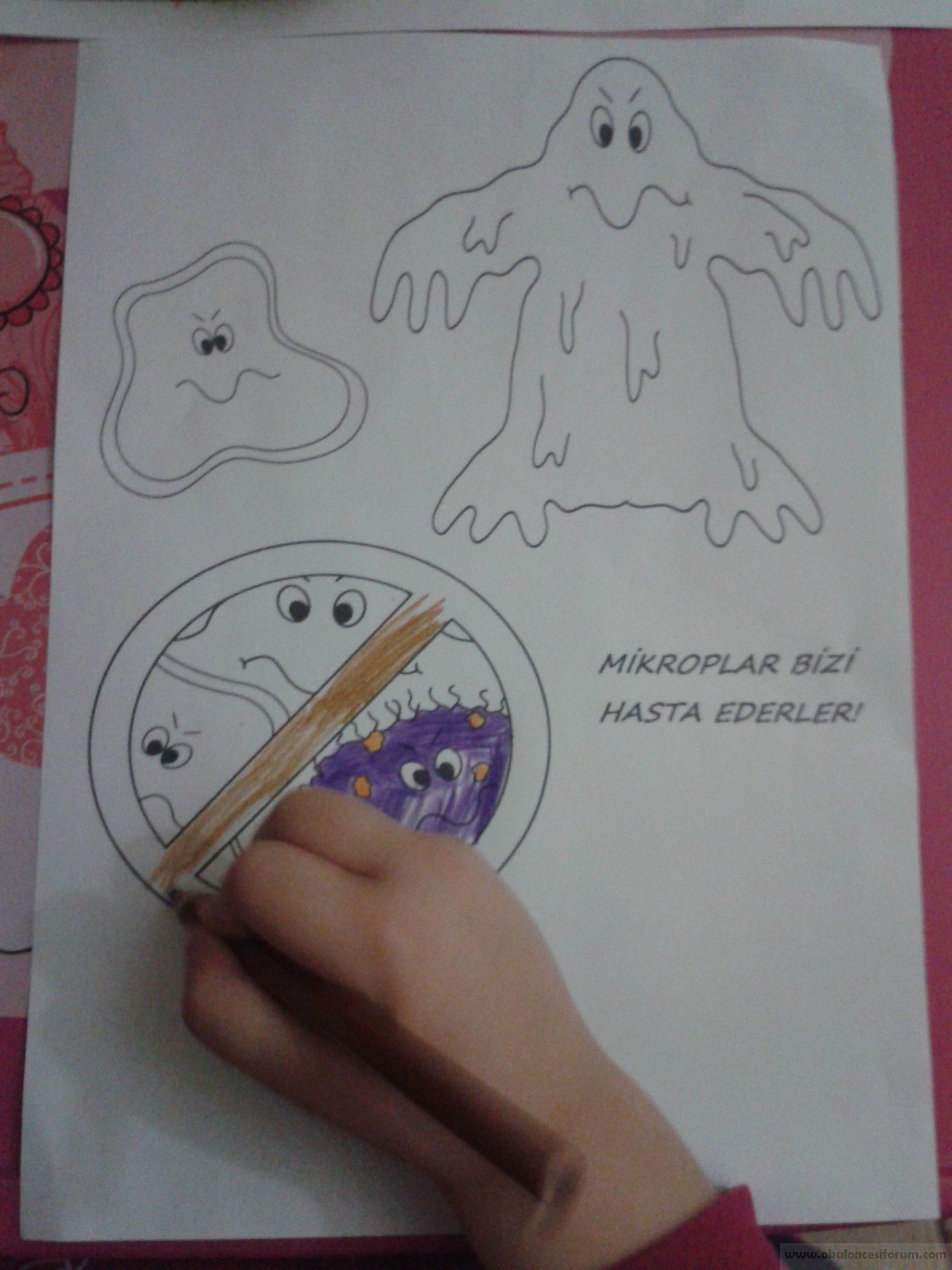 Mikrop Deneyi Ve Boyama Sayfalari Okul Oncesi Etkinlikleri