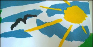 yırtık kağıtla sanat 5