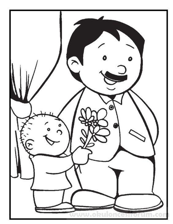 Babalar Günü Boyama Sayfaları Okul öncesi Etkinlikleri