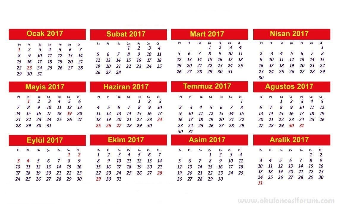 2017 Takvimi Yapalim Okul Oncesi Etkinlikleri