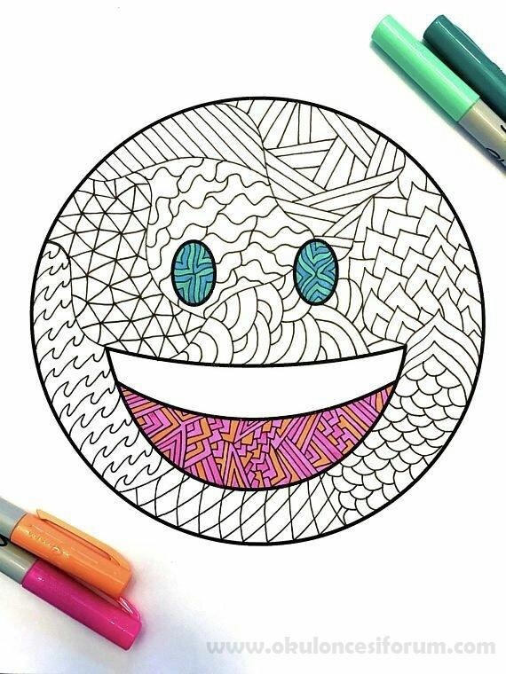Emoji Boyama Sayfalari Okul Oncesi Etkinlikleri