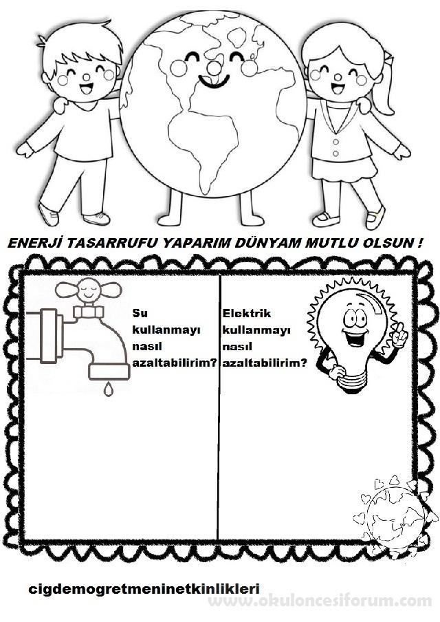 Enerji Tasarrufu Yaparim Dunyam Mutlu Olsun Okul Oncesi