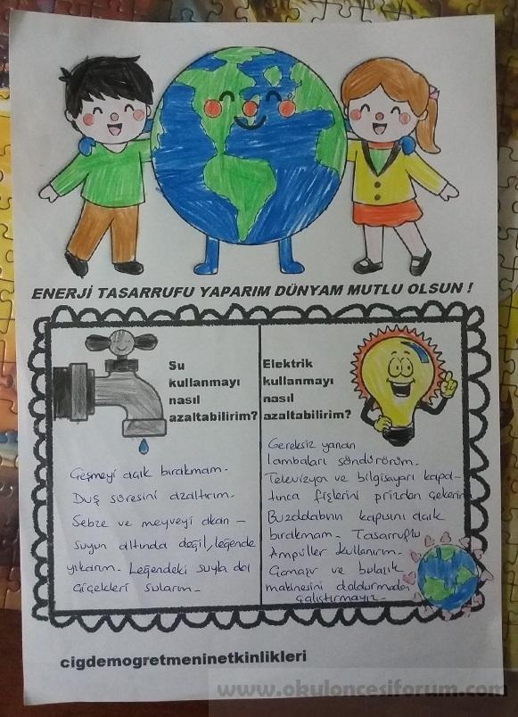 Enerji Tasarrufu Yaparım Dünyam Mutlu Olsun Okul öncesi