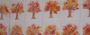 """Sonbahar ağacı  """"fırça baskısı"""""""