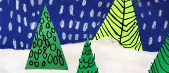 Çam ağaçlarına çizgi çalışması ile kış manzarası