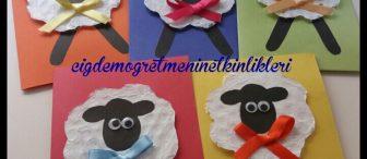 Balonlu naylondan kuzu bayram kartı