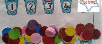 Dondurma topları ile kalıplı rakam öğretimi etkinliği