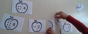 """Elma sayı eşleştirme kartları """"kalıplı"""""""