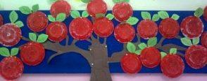 Okul öncesi artık materyal çalışmasıyla ağaç yapımı