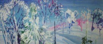 Marul baskısından kış manzarası