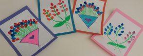 Parmak izi çiçek el sanatları