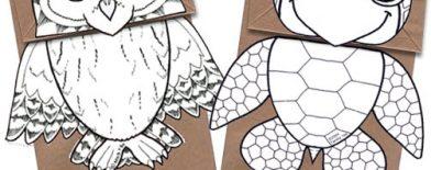 Kese kağıdı kuklalar (Baykuş ve Yeşil deniz Kaplumbağası)